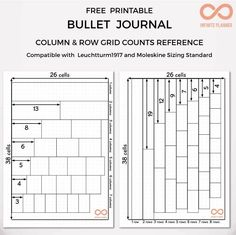 Bullet Journal Column and Row Grid Counts Reference - FREE PRINTABLE