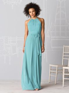Wedding Dresses, Bridesmaid Dresses, Prom Dresses and Bridal Dresses After Six Bridesmaid Dresses - Style 6613 - After Six Bridesmaid Dresses, Spring Halter neck full-length lux chiffon dress w/ shirred bodice and set in waistband. Shown In: Tutti Frutti One Shoulder Bridesmaid Dresses, Bridesmaid Dress Styles, Bridesmaid Ideas, Dessy Bridesmaid, Tiffany Blue Bridesmaid Dresses, Grey Bridesmaids, Evening Dresses, Prom Dresses, Formal Dresses
