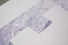 E - Initial Letter E - Topography/Hiking Theme - Letterpress Greeting Card via pepperpressny