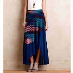 "NIP Anthropologie Blue Asymmetrical Maxi Skirt NIP Anthropologie Blue Multicolored Asymmetrical Maxi Skirt   Weston by Anthropologie   MSRP $118.00  Size: Large - BRAND NEW IN PACKAGE   • Nylon mesh; polyester, spandex lining • Slim maxi silhouette  • Asymmetrical hem • Pull-on styling   Length: 40.5"" inches    NO PP OR TRADES ✅ FAIR OFFERS WELCOME  ✅ BUNDLE DISCOUNTS AVAILABLE Anthropologie Skirts Maxi"