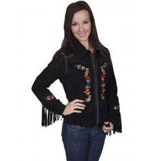 Black Fringe Leather Jacket with Embroidery