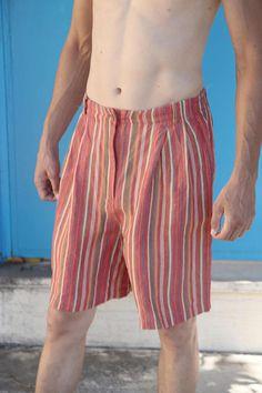 Vintage striped linen viscose shorts bermuda with pockets.size 38/40