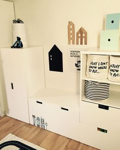 "Love the ""Stuff I don't know where to put"" baskets! Nursery Room, Girl Room, Girls Bedroom, Ikea Stuva, Deco Kids, Kids Study, Playroom Organization, Kids Storage, House Doctor"