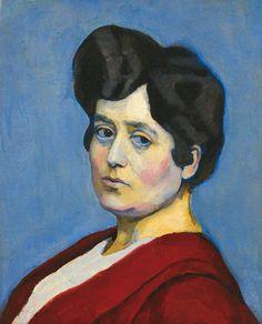 Bertalan Pór (Hungary 1880–1964), Bordóruhás nő (Bordeaux Woman), oil/canvas, 1912-1914. Sold at auction.