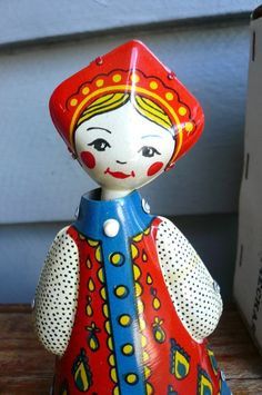 Vintage Tin Russian Doll Toy by LunaParkVintage on Etsy