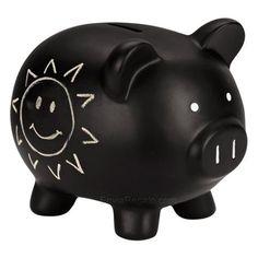alcancia monedas cochinito ceramica con acabado de pizarron color negro escribir con gis Pig Bank, Cute Piggies, Great Hobbies, Money Box, Chalkboard, Baby Gifts, Decoupage, Cool Photos, Diy
