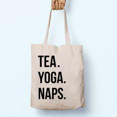 Tea. Yoga. Naps. Illustration Slogan Quote Cotton Shopper Model Tote Bag Shopping Gym Books Tumblr Funny Joke Boy Girl Sack Cotton Gift Food