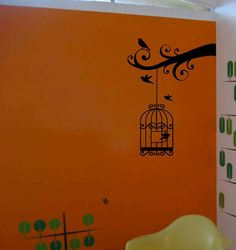 Decorative Birdcage Silhouette Vinyl Decal by VillageVinePress Silhouette Vinyl, Silhouette Projects, Vinyl Decor, Vinyl Wall Decals, Branch Decor, Bird Cage, Get One, Artsy, Birds