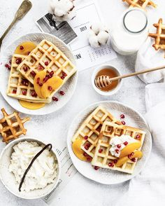 Waffles with peach and pomegranate