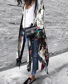 #kimono, jean, tenue casual, sac gucci, slippers