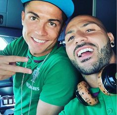 Cristiano Ronaldo poses with international team-mate Ricardo Quaresma on board the flight to Albania