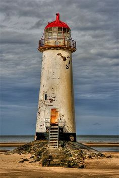 """weepingwillow88:  """"  abandoned lighthouse at talacre beach, flintshire, north wales, UK  """""""