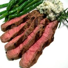 "Grilled Flat Iron Steak with Blue Cheese-Chive Butter | ""Great steak marinade with or without the blue cheese butter! I used sirloin instead of a flat iron steak, it came out so tender and the marinade was completely soaked up by the meat.'"