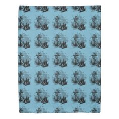 Pirate Ship & Anchor Black Silhouette Duvet Cover   Customize with your choice of background color.  Side A: Tiled image. Side B: Single large image.