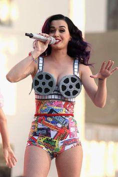 Katy Perry Performing in Film Reel Bra