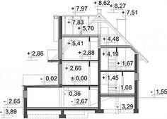 Przekrój pionowy projektu Kasinka DM-6031 House Plans, Floor Plans, Flooring, How To Plan, Architecture, Houses, Garden, Modern Houses, Arquitetura