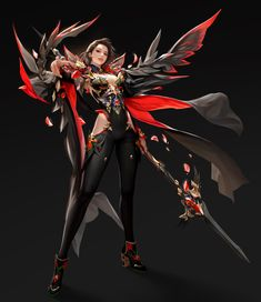 Black), TaeKwon Kim / A-rang Female Character Concept, Fantasy Character Design, Character Design Inspiration, Character Art, Fantasy Art Women, Beautiful Fantasy Art, Fantasy Girl, Fantasy Female Warrior, Fantasy Armor