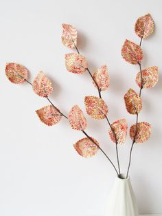 Fabric Leaves  Rose Pink Paisley Twig Branches by janejoss on Etsy, $15.00
