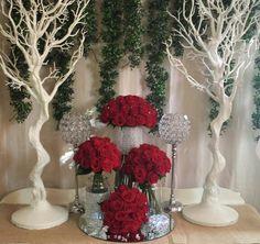 Red rose centrepiece.  Diamonds and roses. Manzanita Trees wedding Flowers #aphroditesweddings