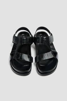 Sandals with animal print straps - PULL&BEAR Flat Sandals, Flats, Black Animals, Color Negra, Fashion Boots, Birkenstock, Products, Strappy Sandals, Black