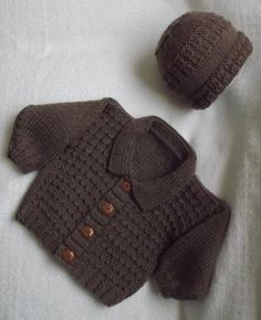 This cute little cardigan with matching beanie hat looks great in pastel colours as well as this warm camel colour. You can have so much fun finding different buttons to change the look.An easy pattern that has a lovely texture that looks harder than it is to do. Great for any baby boy or girl