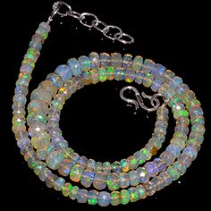 "60CRTS 4to7MM 18"" ETHIOPIAN OPAL FACETED RONDELLE BEADS NECKLACE OBI3097 #OPALBEADSINDIA"