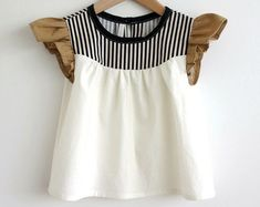 girls cotton blouse with striped detail by SwallowsReturn on Etsy