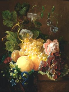Adriana Johanna Haanen, 2 works: Still life with fruit and flowers on a plinth; Still life with a jay on a plinth Still Life Fruit, Autumn Scenes, Fruit Painting, Painting Still Life, Old Paintings, Caravaggio, Classical Art, Fruit Art, Still Life Photography