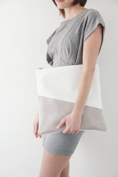 Large two toned fold over bag W £33.00, via Etsy.