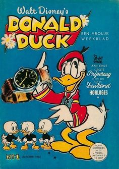 The first Donald Duck Weekly Magazine, october 1952 Walt Disney, Disney Duck, Disney Mickey Mouse, Old Cartoons, Classic Cartoons, Comic Book Covers, Comic Books, Children's Comics, Donald And Daisy Duck