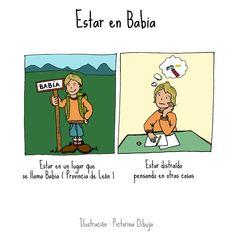 Dibujos para niños con T.E.A. y sus padres.: Frase hecha : Estar en Babia