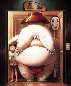 Spirited Away - Chihiro in the elevator up to meet the witch Yubaba - The best movie ever from Hayao Miyazaki. Film Manga, Anime Manga, Anime Art, Studio Ghibli Art, Studio Ghibli Movies, Hayao Miyazaki, Chihiro Y Haku, Studios, Fanart