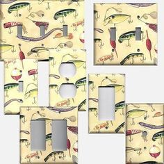 Fishing Lures Worms Bait Gear Hooks on Cream Background Switchplates & Outlets - Simply Chic Gal
