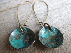 Bohemian blue/turquoise copper earrings with by CopperTreeArt, $22.00