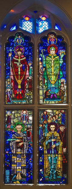 Harry Clarke, Saint William, St Cuthbert, Leaded Glass Windows, Church Windows, Irish Art, Arts And Crafts Movement, Stained Glass Art, Priest