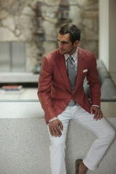 red blazer. white pants.