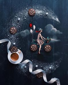I chased my dreams riding a little sweet bicycle, feeling the summer air on my face in a starry night and I woke up in a bubble of… Coffee Heart, Little's Coffee, Coffee Cafe, Coffee Break, Coffee Photography, Food Photography, Bar Kunst, Pause Café, Good Morning Coffee