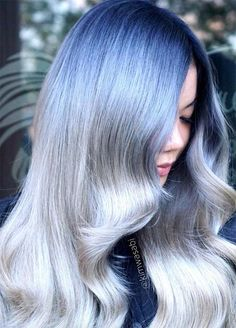 Granny Silver/ Grey Hair Color Ideas: Ombre Silver Hair With Dark Roots