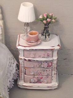 Dollhouse+miniature+Decoupage+bedside+table+112+by+MyOwnRoom,+$35.00