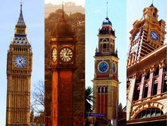 Quatro torres com relógios