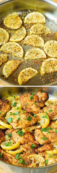 This lemon chicken skillet is a super quick and easy recipe that takes only 30 minutes to make. Healthy and gluten free!