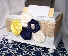 Wedding Card BOX -  Burlap, Navy Blue and Yellow, Modern Shabby style,  White Shabby Chic Box, Custom colors available
