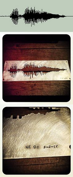 Turn the audio waveform of your vows into a piece of art. So cool! (Gift from this bride's brother: http://www.videobrideblog.com/2012/12/colleen-pauls-highlights-charleston-sc.html)