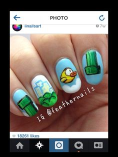 Flappy bird nail art
