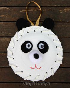 Paper Plate Panda... great introduction to hand sewing for pre-schoolers - Danya Banya