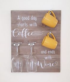 Smile there's wine. But first coffee. Coffee Wine Sign Coffee Wine Rack Coffee b… Smile there's wine. But first coffee. Coffee Wine Sign Coffee Wine Rack Coffee by MrsShellyHomemaker - Style Of Coffee Bar In Kitchen Wood Home Decor, Diy Home Decor, Diy Apartment Decor, Apartment Kitchen, Rustic Wood, Rustic Decor, Wine Decor, Deco Cafe, Coffee Wine