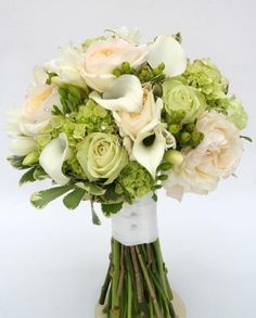 Green and White Bridal Bouquet with green roses, hypericum berries, white mini callas, and blush garden roses