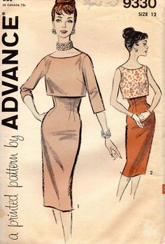 Advance 9330 1960s Split Level Sheath Dress and Cropped Overblouse womens vintage sewing patterns by mbchills