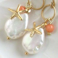 Items similar to Starfish Earrings White Coin Pearl Coral & Starfish Charm in Gold fill Beach Jewelry Bridesmaid gift Summer Wedding Seashell on Etsy Shell Schmuck, Diy Schmuck, Schmuck Design, Starfish Earrings, Beaded Earrings, Earrings Handmade, Handmade Jewelry, Coral Earrings, Seashell Jewelry