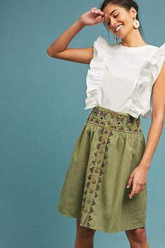 Maeve Embroidered Utility Skirt